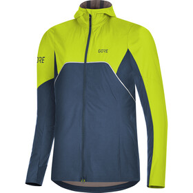 GORE WEAR R7 Partial Gore-Tex Infinium Hooded Jacket Damen deep water blue/citrus green